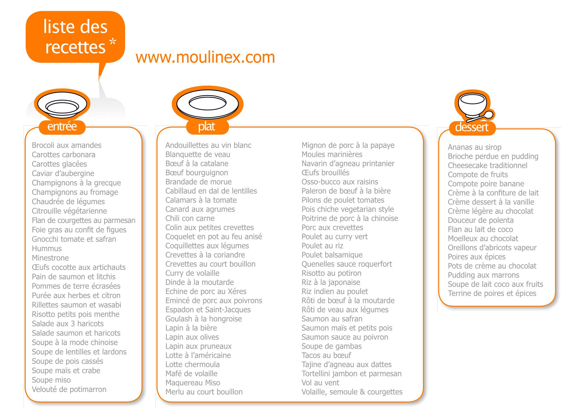 liste des 100 recettes cookeo